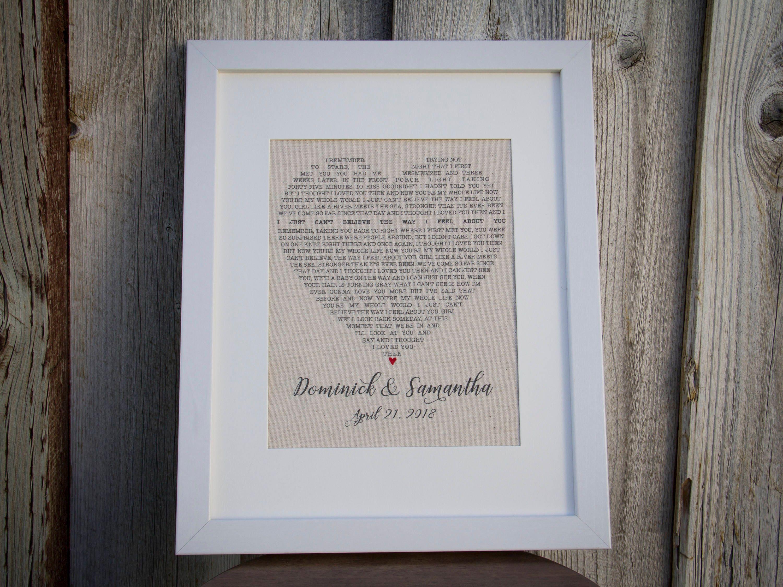 Cotton Wedding Gift: Cotton Second Anniversary Gift Wedding Song Lyric Art Gift