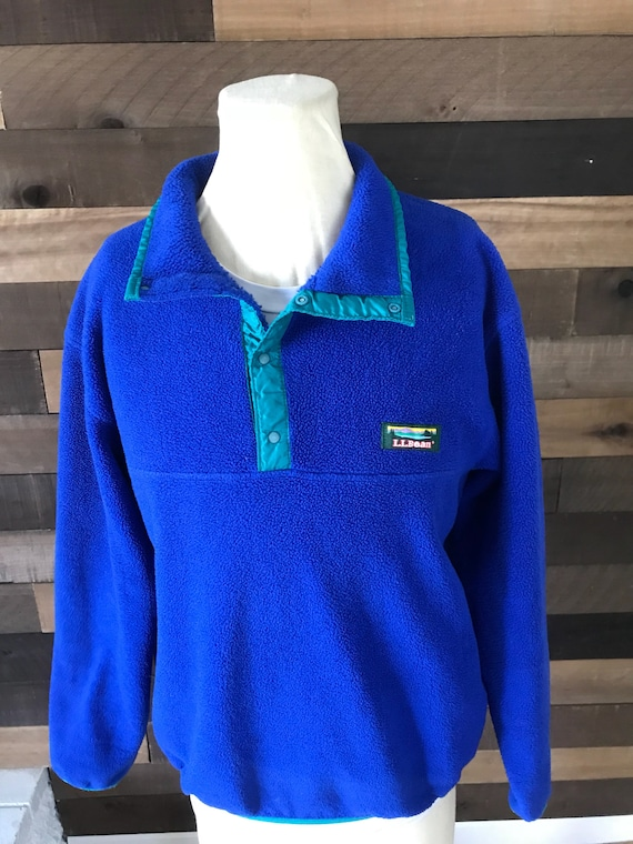 Vintage mens fleece ll bean blue 1/4 button jacket size medium Pos9M