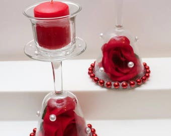 Pair of Beautiful Red Rose Wine Glass Candle Holders
