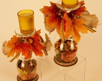 Pair of Beautiful Fall Colors Wine Glass Votive Candle Holders