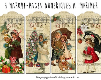 "4 bookmarks numeriues print ""Noël"", waiting for Christmas pictures"