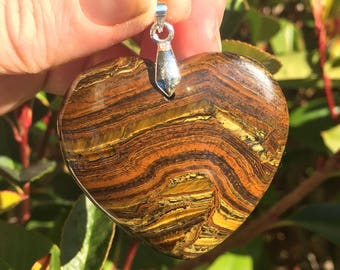 Tiger Eye Heart Pendant, Tiger Eye, Heart, Tiger Eye Necklace