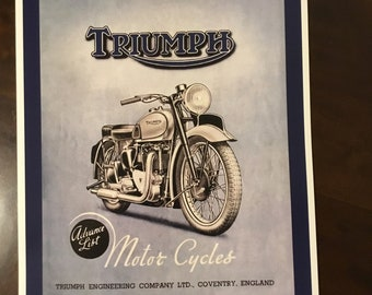 976aa5aaf3e Reproduction vintage Triumph motorcycle poster T480