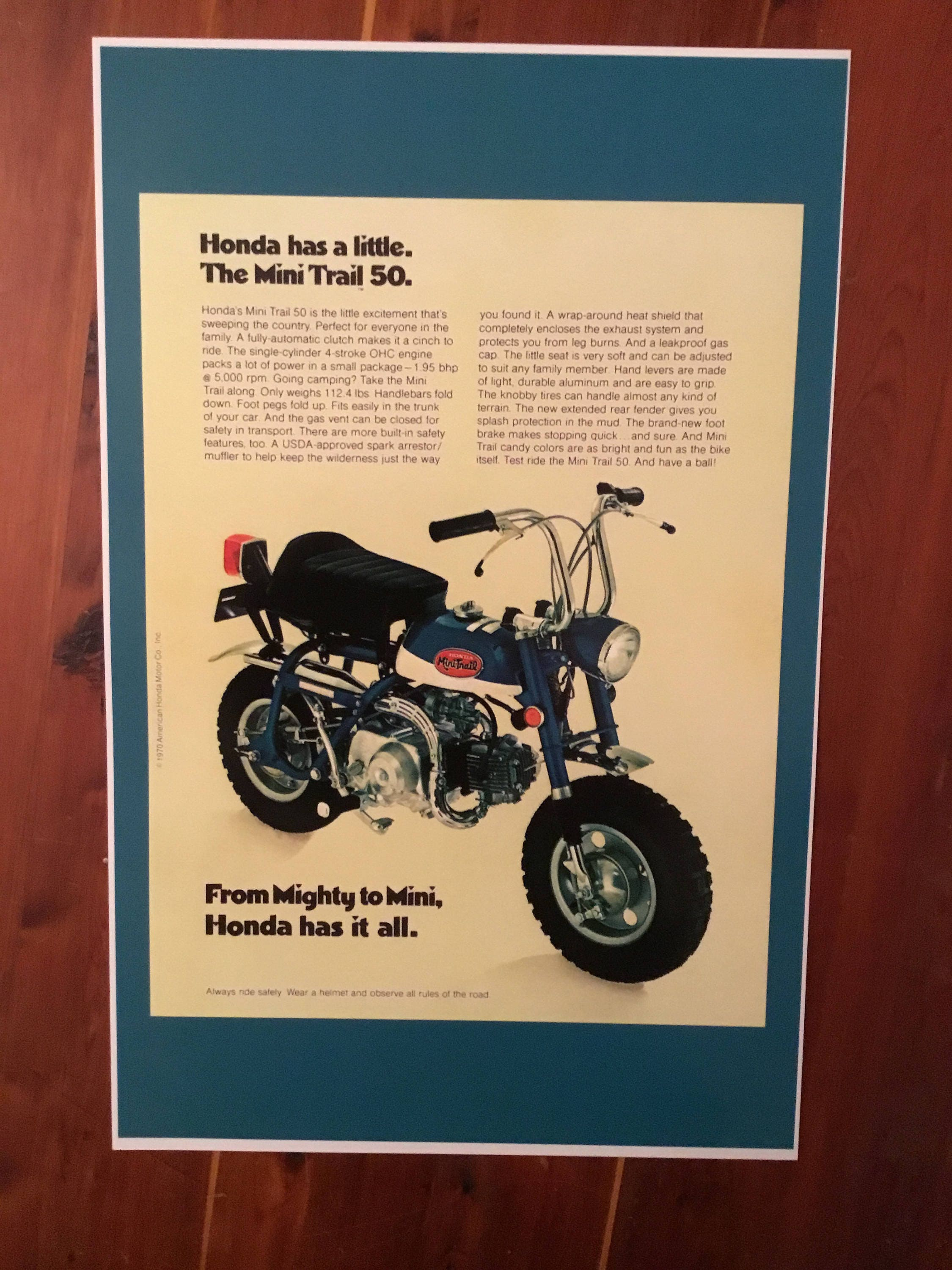 Vintage Honda Mini Trail 50 Reproduction Poster Etsy 1970