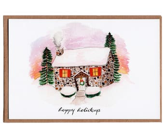 Cozy Home in the Snow wishing Happy Holidays Illustrated Card