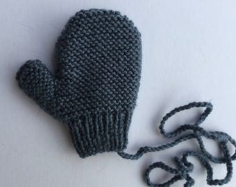 Child mittens with Persian blue woolen thumb - size 2 years