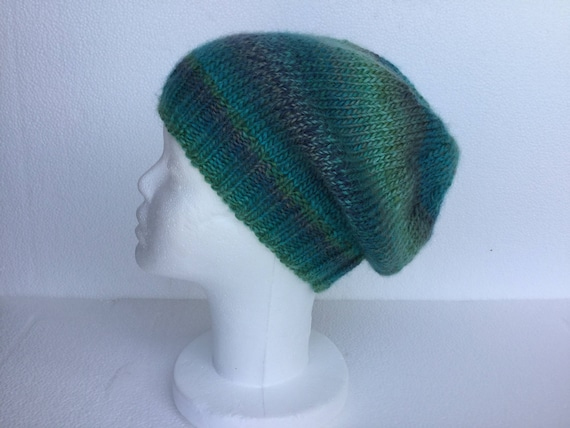 08ebdfbf03f0 Beanie slouchy knit wool woman turquoise blue green slouchy   Etsy