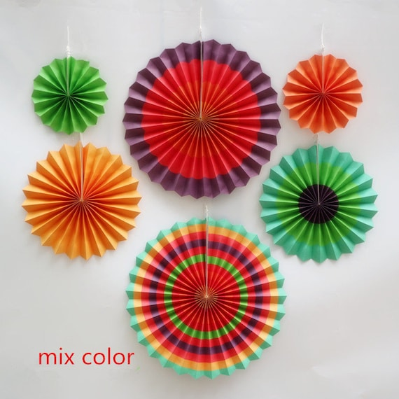 6pcs/lot DIY mix color Fold Hand Craft Paper Fan Festival Supplies Flower  Paper Craft Gifts Wedding Decoration fan party wedding fan