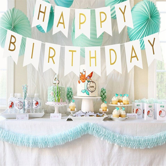 White And Gold Birthday Party Decorarations Glitter Gold Etsy