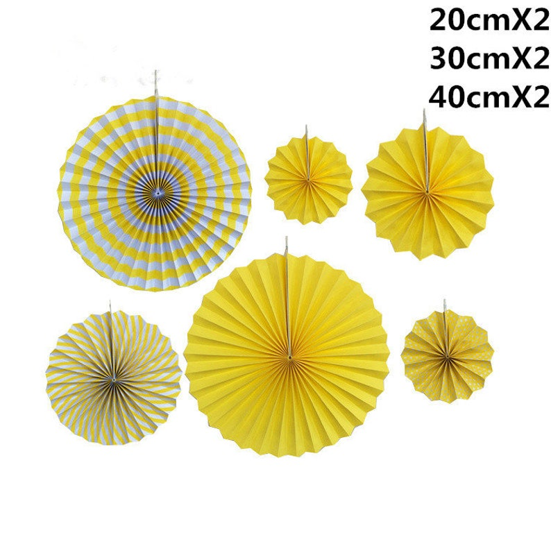 6pcs/lot DIY yellow Fold Hand Craft Paper Fan Festival Supplies Flower  Tissue Paper Craft Gifts Wedding Decoration fan party wedding fan