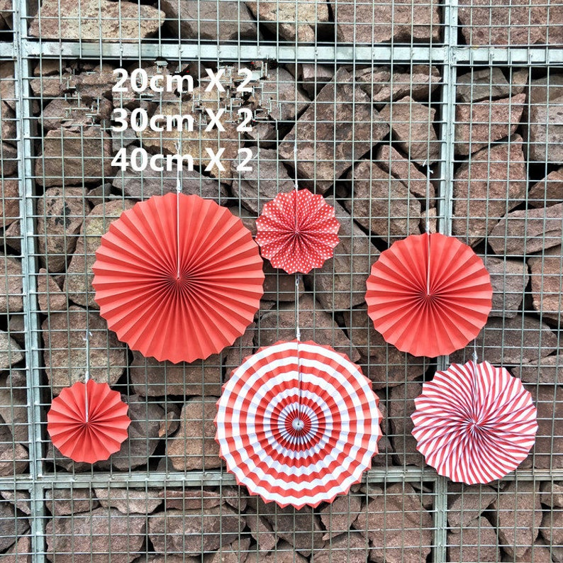 6pcs/lot Red + stripe DIY Fold Hand Craft Paper Fans Tissue Paper Fan  Pinwheels Flower for Wedding Party baby Shower Decoration