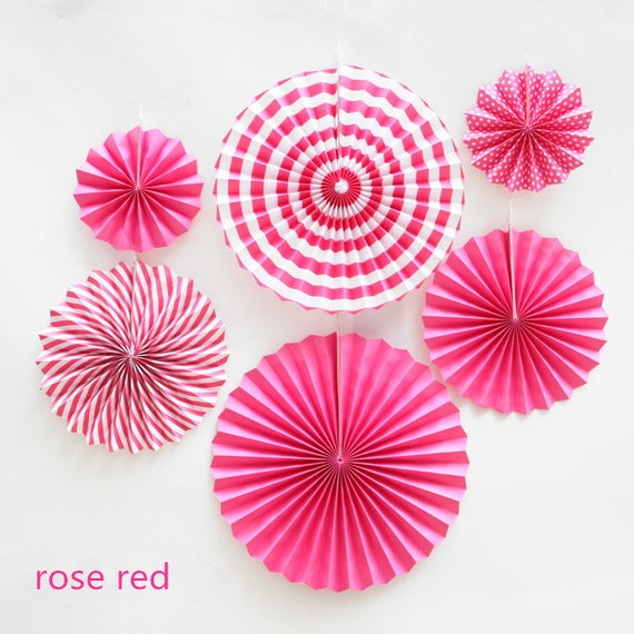 6pcs/lot rose red DIY Fold Hand Craft Paper Fans Festival Supplies Flower  Wedding Decoration fan party wedding flower
