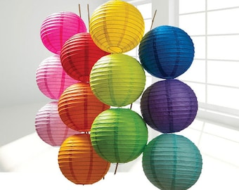 party Wedding Decoration 5pcs Chinese Paper Lantern Piece Paper Lantern SET Round Paper Lanterns Wedding Party Floral Sky Decoration
