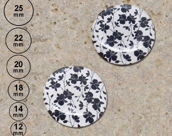 2 cabochons print branch flowers, white 25 mm 20 mm 22 mm 18 mm 14 mm 12 mm