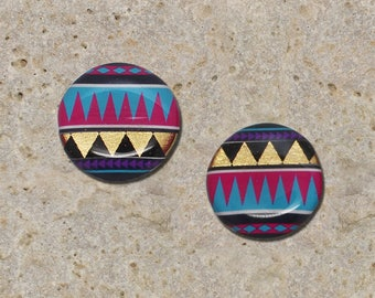 2 round cabochon 20 mm triangle gold