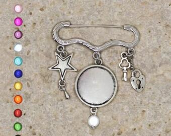 Silver ring 20 mm, Star, heart brooch pin