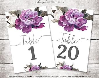 Purple Wedding Table Numbers, Purple Peonies Floral Wedding Table Numbers, PRINTABLE Calligraphy Table Numbers Cards 1-20