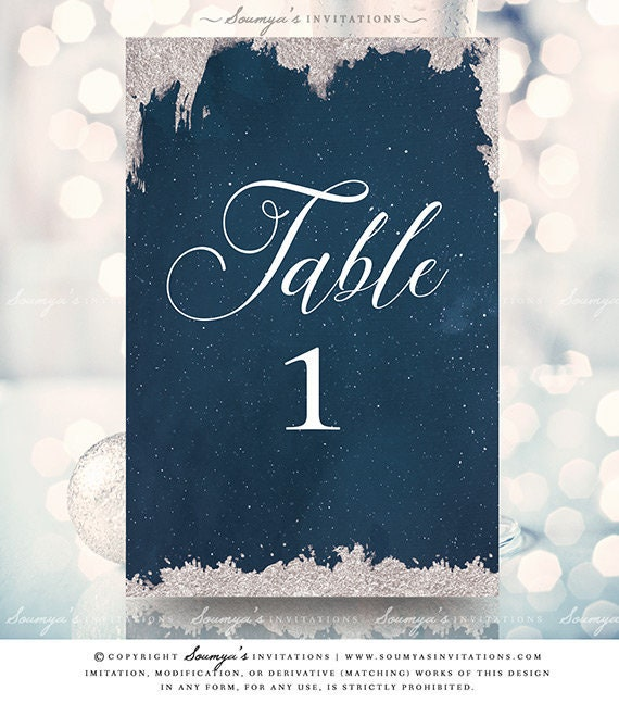 Navy Blue And Silver Table Decorations  from i.etsystatic.com