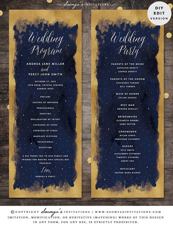 Starry Night Celestial Galaxy Wedding Program Template Etsy