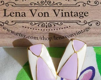 1980s painted enamel post earrings in white, lilac and gold.