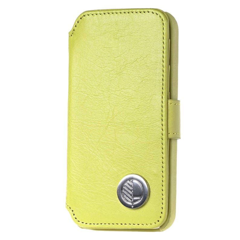 timeless design b6d31 ad668 Apple iPhone SE 5 5S Wallet Case for Women with Card Holder in Sumptuous  Citrus Green British Genuine Leather. The Answer. FREE SHIPPING