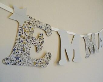 Guirlande Prénom,guirlande Lettres,lettres En Tissu,guirlande  Personnalisée,décoration Murale,cadeau Naissance,cadeau Baptême,baby Shower