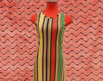 1970s Racer back striped maxi dress