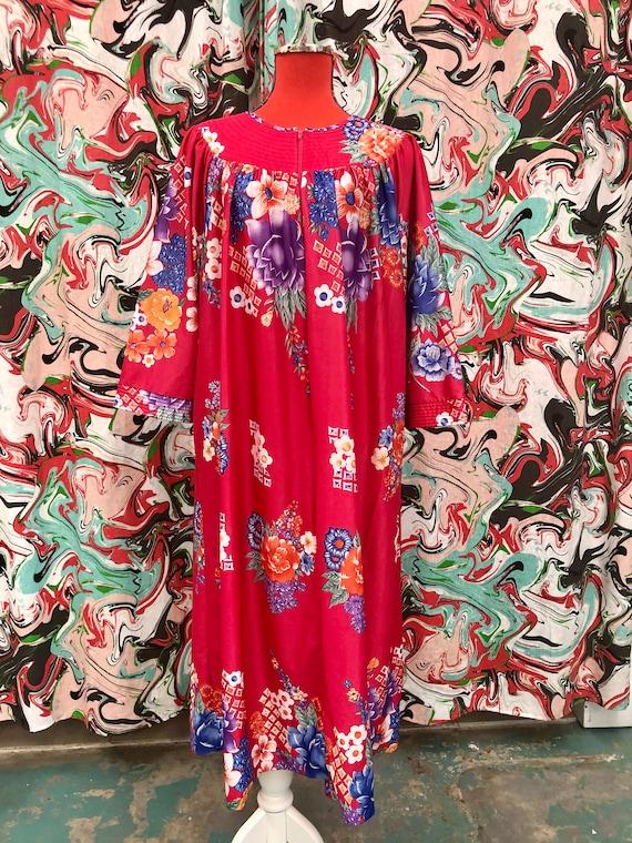 1970's groovy floral house dress maxi dress plus s