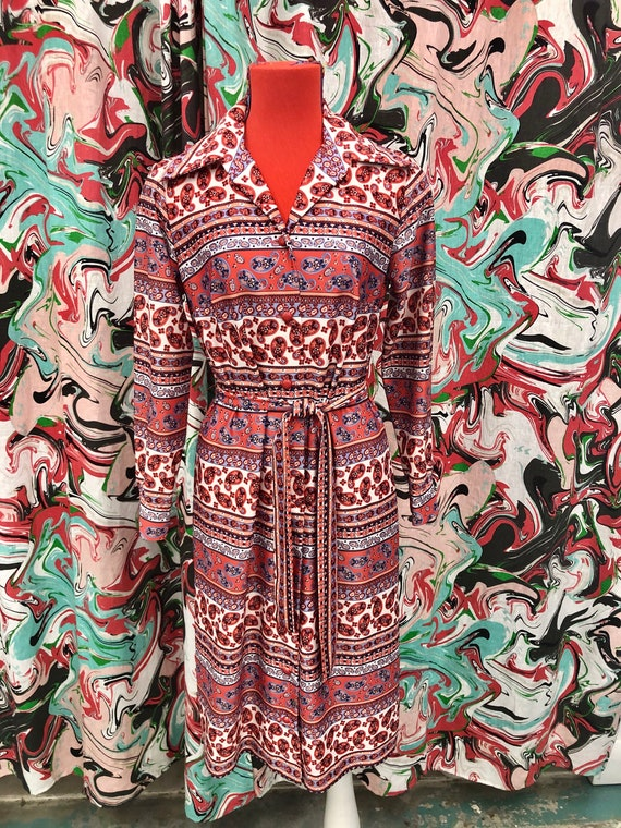 1970's paisley belted shirt dress
