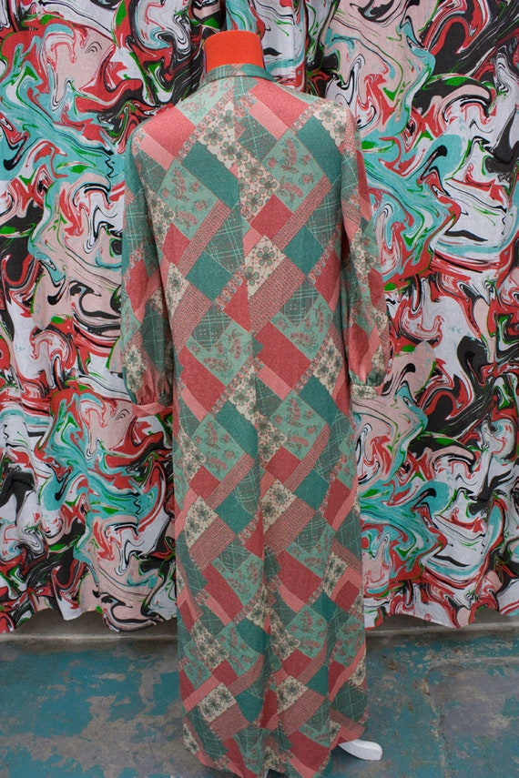 1960's 1970's green and red maxi dress with silve… - image 3
