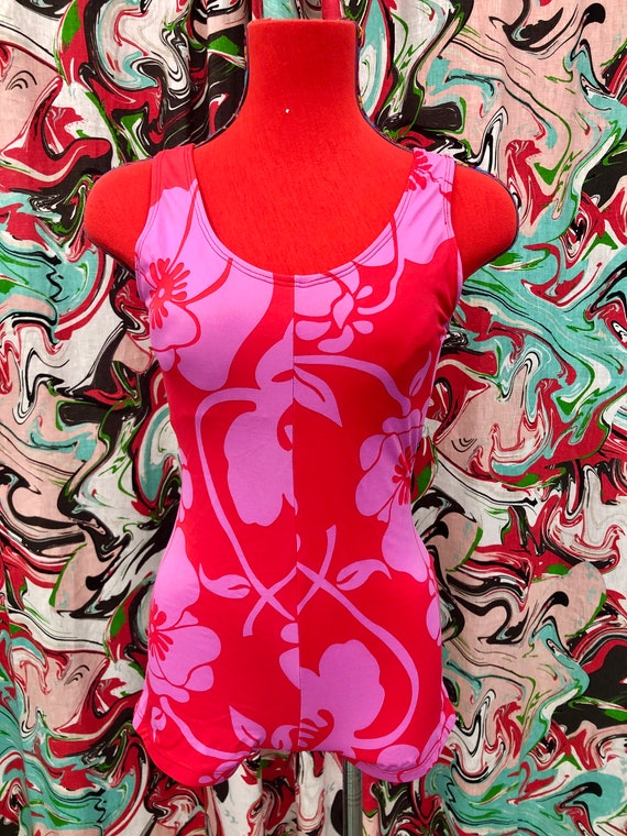 1990's does 60's hibiscus print swimsuit