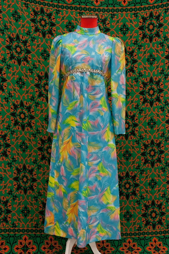 1960's multi color puff sleeve high neck maxi dres