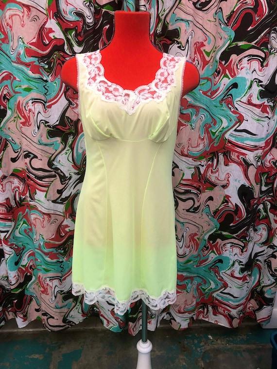 1960's gl'amour neon green slip