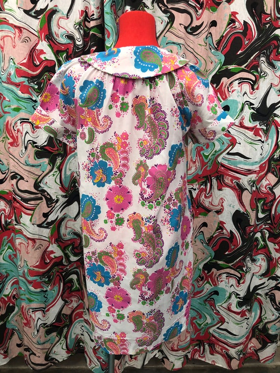 1960's bright paisley Peter Pan collar smock dress - image 5