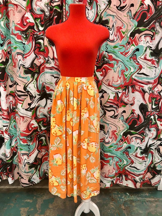 1980's sunny strawberry print maxi skirt