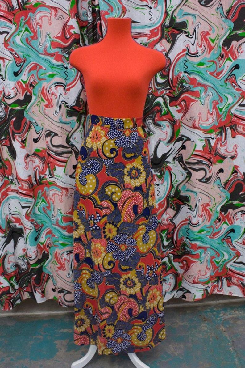 f61725b62 1970's floor length paisley maxi skirt | Etsy
