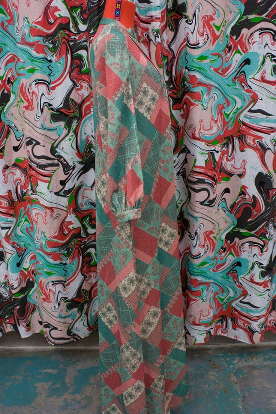 1960's 1970's green and red maxi dress with silve… - image 2