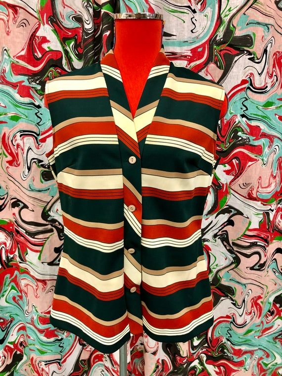 1970's rust and green striped blouse