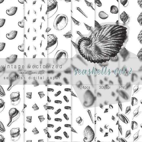 Seashells Digital Paper Vol2 Seashells Clipart Seamless Etsy