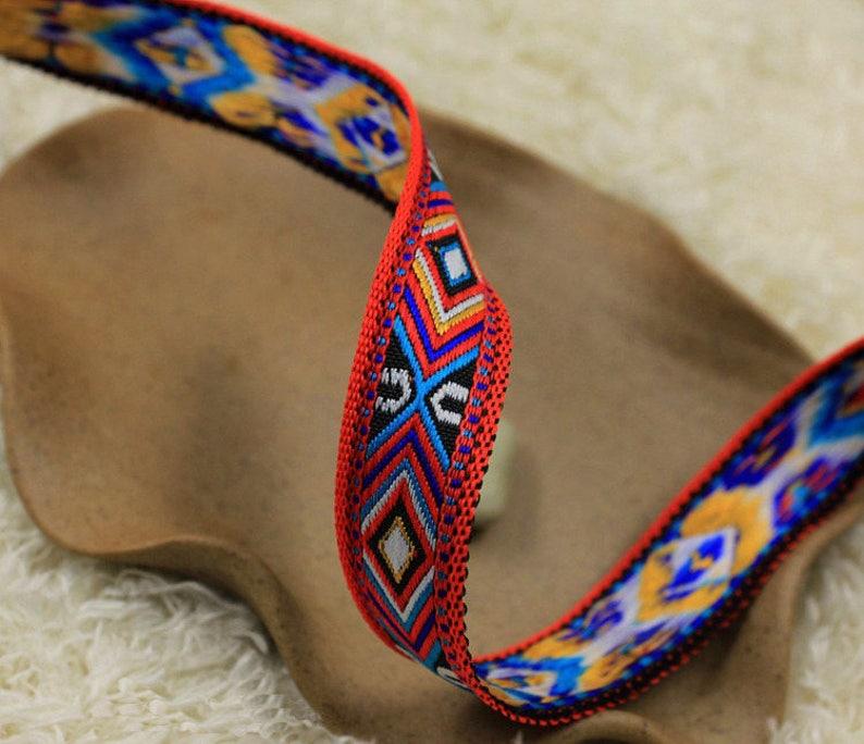Ribbon woven ethnic red \u00d7 15 mm tall