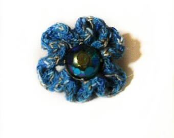 Ring adjustable crochet blue flower