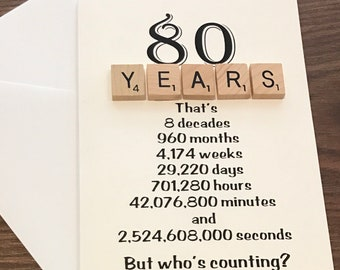 Funny 80th Birthday Scrabble Card