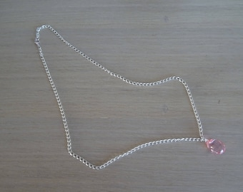 Chain silver necklace with Pearl Pink