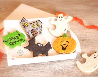 Halloween cookies - Pumpkin cookie - Skeleton biscuit - Haunted house cookie - Ghost cookie - Trick or Treat cookies - Bat cookie - Gift box
