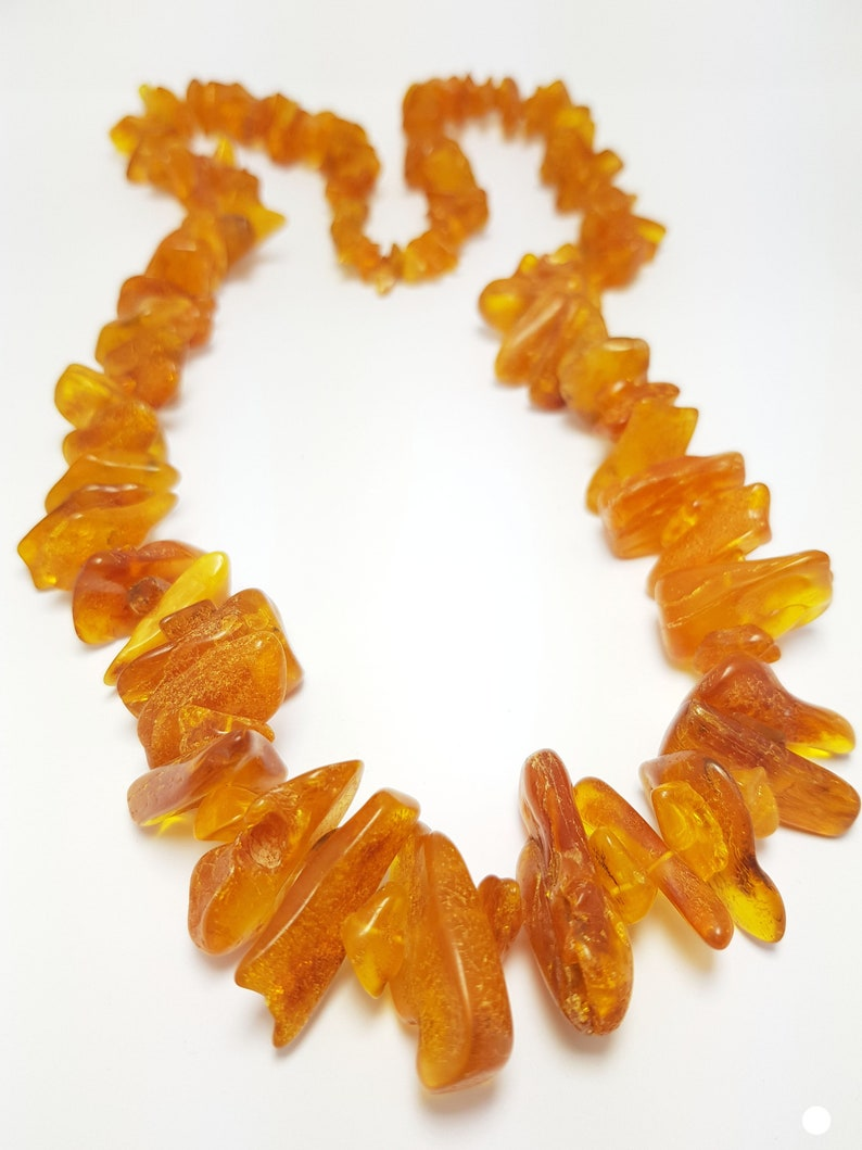 Baltic Amber Necklace   30 Inch Long  Vintage Baltic Amber 91,4 gram  Genuine Amber Jewelry  Cognac Amber  Vintage Amber Necklace