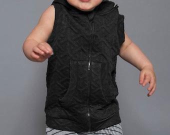 Thick Sleeveless Vest | Kids Pocket Hoodie | Hoodie Vest | Vegan Clothing | Geometric Top | Unisex Kids Clothing | Minimalistic Top UMMOK