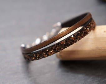 Child bracelet Brown and gold glitter