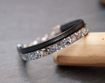 Child bracelet silver and black