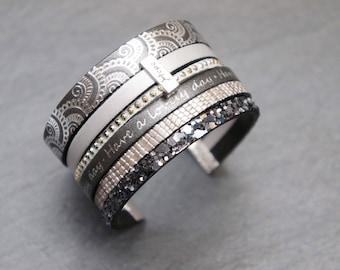 Silver grey leather Cuff Bracelet.