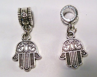 8 beads European antique silver hand (40 C)